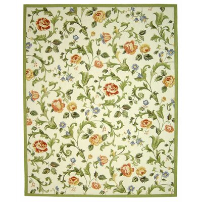Helena Ivory/Green Area Rug Rug Size: Rectangle 79 x 99