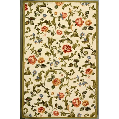 Helena Ivory/Green Area Rug Rug Size: Rectangle 53 x 83
