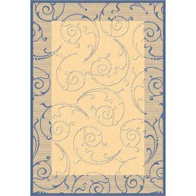 Poole Natural / Blue Outdoor Area Rug Rug Size: Rectangle 53 x 77