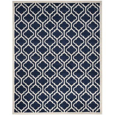 Carman Power Loom Navy/Beige Indoor/Outdoor Area Rug Rug Size: Rectangle 8 x 10