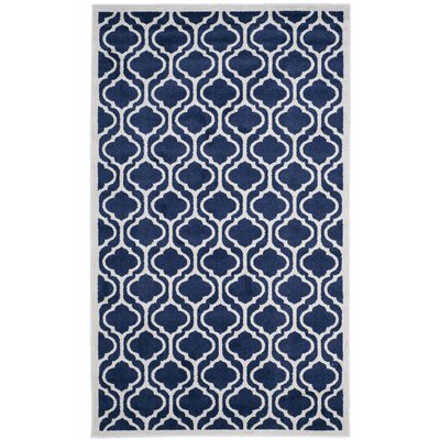 Carman Power Loom Navy/Beige Indoor/Outdoor Area Rug Rug Size: Rectangle 5 x 8