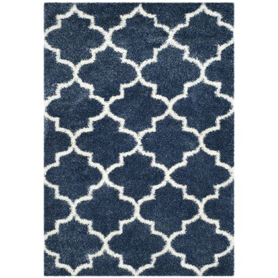 Bingham Blue/White Area Rug Rug Size: Rectangle 67 x 96