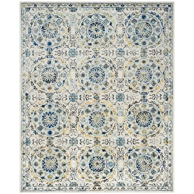 Ameesha Ivory/Blue Area Rug Rug Size: Rectangle 9 x 12