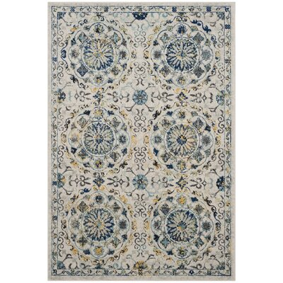 Ameesha Ivory/Blue Area Rug Rug Size: Rectangle 3 x 5