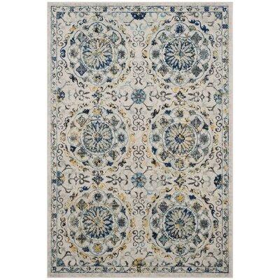 Ameesha Ivory/Blue Area Rug Rug Size: Rectangle 4 x 6
