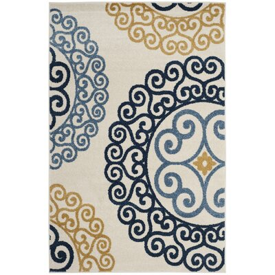Neil Ivory/Blue Indoor/Outdoor Area Rug Rug Size: Rectangle 9 x 12