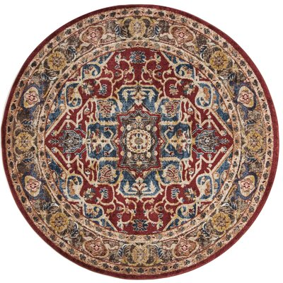 Broomhedge Red/Beige Area Rug Rug Size: Round 67