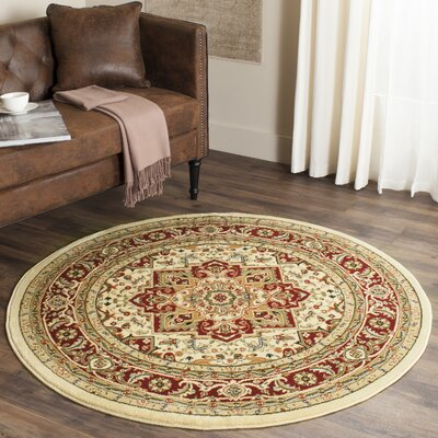 Theresa Ivory/Red Area Rug Rug Size: Round 8