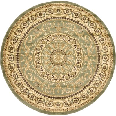 Oskar Light Green Area Rug Rug Size: Round 6
