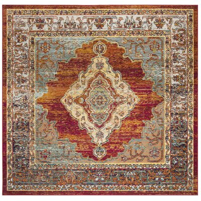 Michiana Orange/Light Blue Area Rug Rug Size: Square 7