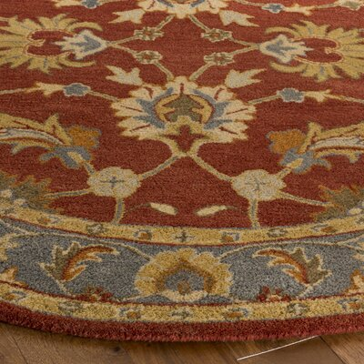Cranmore Hand-Tufted Red/Blue Area Rug Rug Size: Round 8