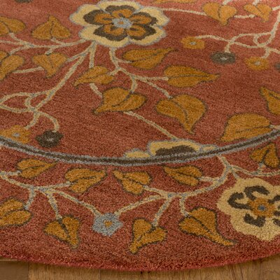 Cranmore Hand-Tufted Red/Orange Area Rug Rug Size: Round 8 x 8