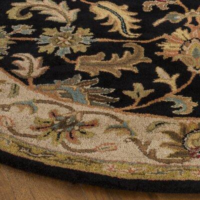 Cranmore Black & Beige Area Rug Rug Size: Round 36