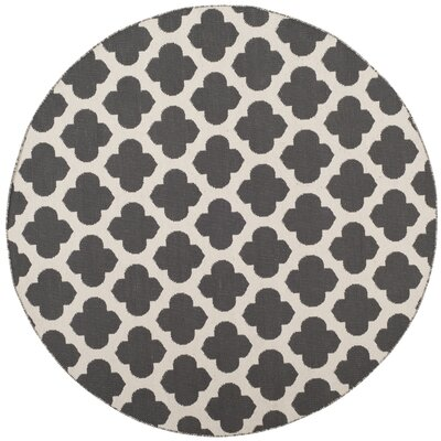 Willow Hand-Woven Dark Gray/Ivory Area Rug Rug Size: Round 6