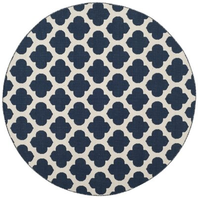 Willow Hand-Woven Navy/Ivory Area Rug Rug Size: Round 6