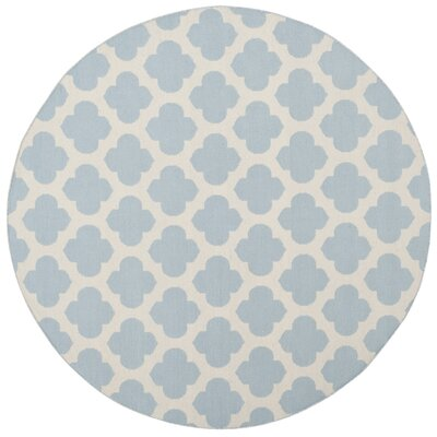 Willow Hand-Woven Light Blue/Ivory Area Rug Rug Size: Round 6