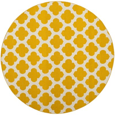 Willow Hand-Woven Yellow/Ivory Area Rug Rug Size: Round 6