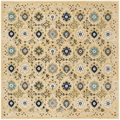 Pike Gold / Ivory Area Rug Rug Size: Square 7