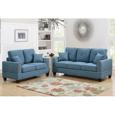 Findlay 2 Piece Living Room Set Upholstery: Blue