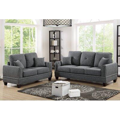 Findlay 2 Piece Living Room Set Upholstery: Ash Black