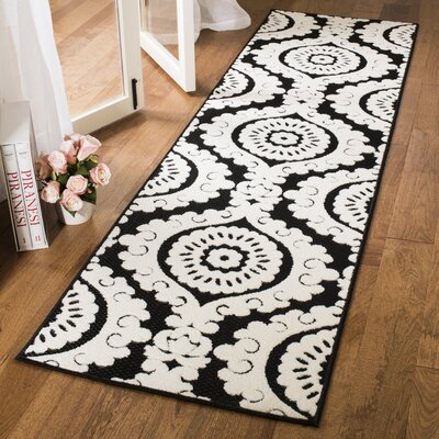 Deweese Black/Beige Outdoor Area Rug Rug Size: Runner 23 x 8