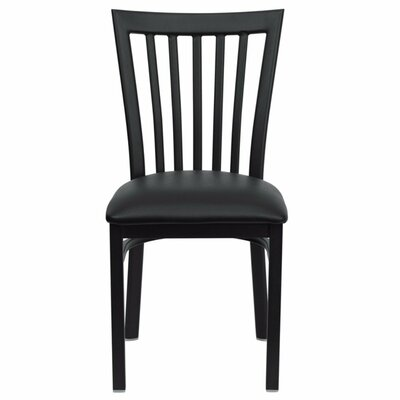 Duprey Side Chair with Slat Back Upholstery: Black