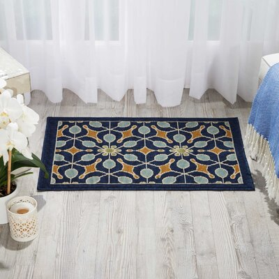 Lewis Navy Indoor/Outdoor Area Rug Rug Size: Rectangle 19 x 29