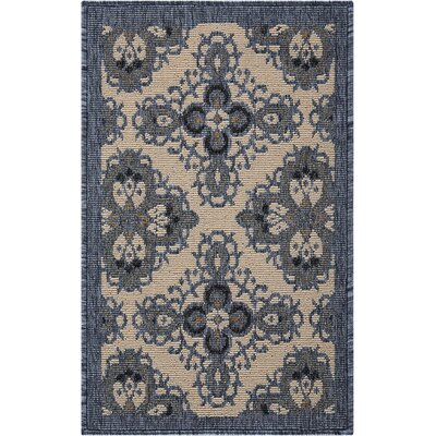 Ashby Ivory/Blue Indoor/Outdoor Area Rug Rug Size: Rectangle 19 x 29