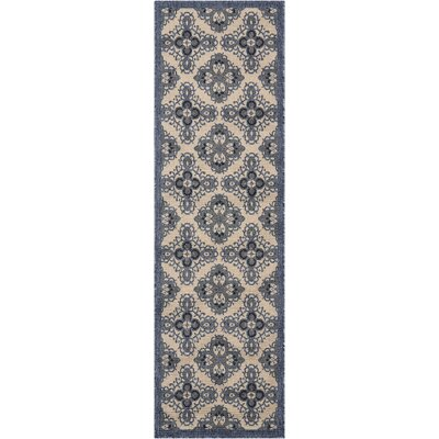 Ashby Ivory/Blue Indoor/Outdoor Area Rug Rug Size: Runner 23 x 76