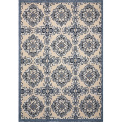 Ashby Ivory/Blue Indoor/Outdoor Area Rug Rug Size: Rectangle 53 x 75