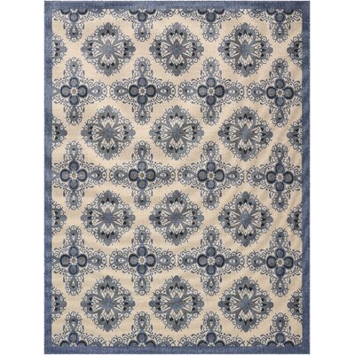 Ashby Ivory/Blue Indoor/Outdoor Area Rug Rug Size: Rectangle 710 x 106