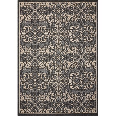 Ashby Charcoal Indoor/Outdoor Area Rug Rug Size: Rectangle 53 x 75