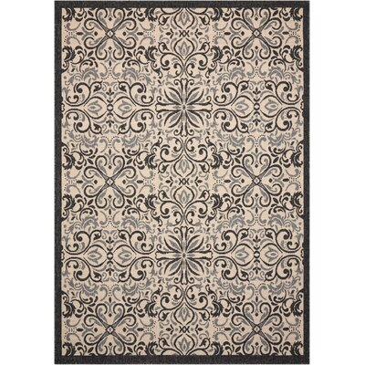Ashby Ivory/Charcoal Indoor/Outdoor Area Rug Rug Size: Rectangle 53 x 75