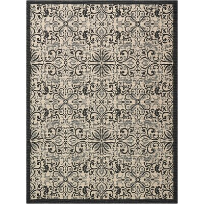 Ashby Ivory/Charcoal Indoor/Outdoor Area Rug Rug Size: Rectangle 710 x 106