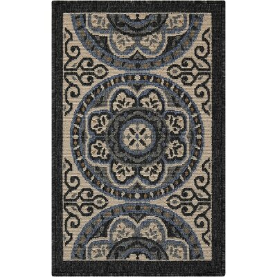 Ashby Ivory/Charcoal Indoor/Outdoor Area Rug Rug Size: Rectangle 19 x 29