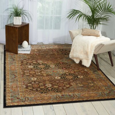 Ravens Brown Area Rug Rug Size: Rectangle 53 x 73