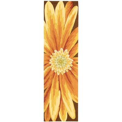 York Hand-Hooked Yellow Area Rug Rug Size: Runner 23 x 8