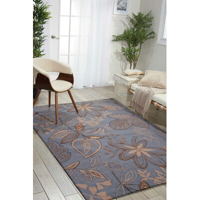York Hand-Hooked Gray/Blue Area Rug Rug Size: Rectangle 26 x 4