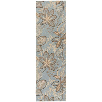 York Hand-Hooked Gray/Blue Area Rug Rug Size: Runner 23 x 8