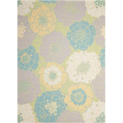 Wright Teal Blue/Yellow Indoor/Outdoor Area Rug Rug Size: Rectangle 53 x 75