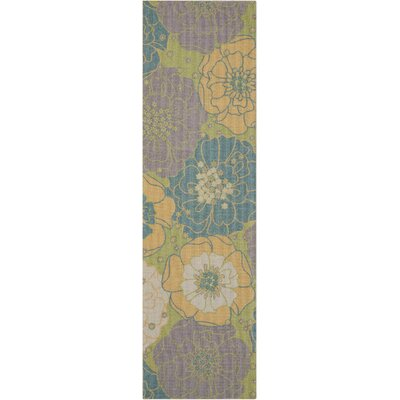 Wright Teal Blue/Yellow Indoor/Outdoor Area Rug Rug Size: Runner 23 x 8
