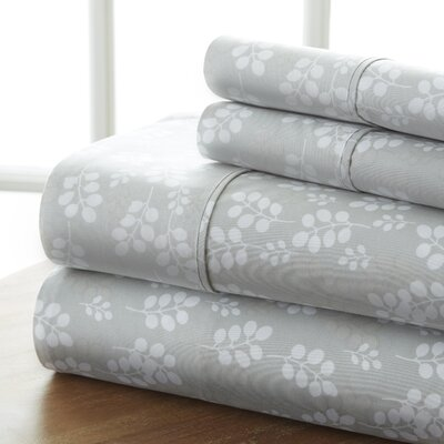 Plainsboro Premium Printed Microfiber Sheet Set Size: Queen, Color: Gray