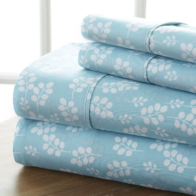 Plainsboro Premium Printed Microfiber Sheet Set Size: Queen, Color: Pale Blue