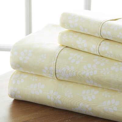 Plainsboro Premium Printed Microfiber Sheet Set Size: King, Color: Ivory