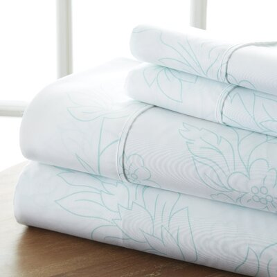 Ivana Vine Sheet Set Color: Aqua, Size: California King