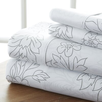 Betio 4 Piece Printed Bed Sheet Set Size: Twin, Color: Gray