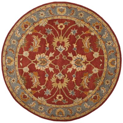Cranmore Hand-Tufted Red/Blue Area Rug Rug Size: Round 6