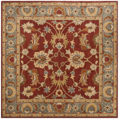 Cranmore Hand-Tufted Red/Blue Area Rug Rug Size: Square 8