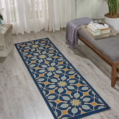 Lewis Navy Indoor/Outdoor Area Rug Rug Size: Rectangle 23 x 76
