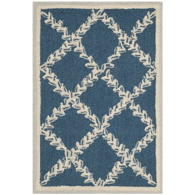 Helena Navy/Cream Area Rug Rug Size: Rectangle 18 x 26